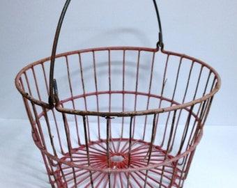 Rustic Farmhouse Basket, Vintage Wire Egg Basket, Handled Storage Bucket With Red Coated Metal, Primitive / Retro & Farm Decor