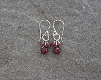 Ruby Earrings, Ruby Clusters, Sterling Silver and Ruby Dangles, Ruby Gemstone Cluster Earrings, Small Ruby Drops, July Birthstone Jewelry