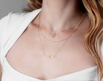 Triple Layer Necklace Set, Three Layering Necklace, Layer Necklace Set, Gold Celtic Necklace, Multi Strand Necklace, Silver Boho Necklace