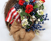 American Flag Wreath, Patriotic Wreath, Memorial Day Wreath, 4th Of July Wreath, Spring and Summer Wreaths, Americana Wreath, Veterans Day