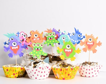 16 Monster Party Supplies, Monster High Party Decorations, Monster High Cupcake Toppers, Monsters Birthday Party, Monster Cake Decoration