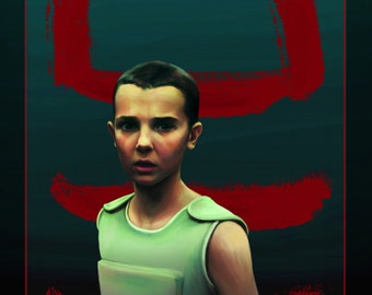 "Eleven ""011"" from Stranger Things, Netflix TV show, A3 art print, digital painting, on high quality 250gsm Paper"