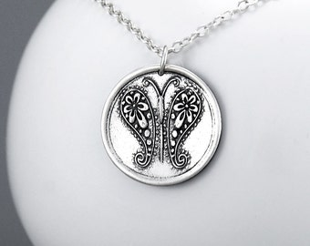 Butterfly Necklace Sterling Silver Insect Pendant Necklace Paisley Butterfly Bohemian Charm Jewelry Paisley Jewelry Gypsy Necklace - For Her