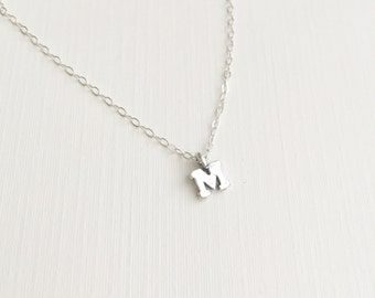 Tiny Letter M Necklace, Sterling Silver Necklace, Initial Letter M Necklace, Initial Charm Necklace, Silver M Necklace, Monogram Necklace
