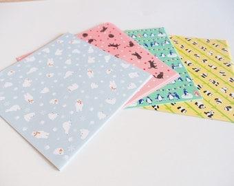 48 sheets of origami / / animal motif / / 4 colours / / polar bear / panda / / / cat/Penguin / 150x150mm
