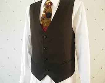 Men's Vest, Black Vest, Wedding Vest, Men's Black Wedding Vest, Groom Vest, Groomsmen Vest, Men's Waistcoat, Men's Suit, Businessman Vest
