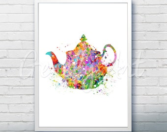 Kitchen Teapot Watercolor Art Print  - Teapot Watercolor Art Painting - Teapot Poster - Kitchen Decor - Home Decor - House Warming Gift [3]