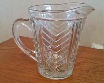 Water pitcher pressed glass Art Deco pattern
