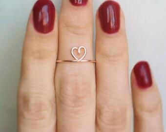 Midi Heart Ring, Rose gold heart midi ring, Rose gold knuckle ring, Rose gold ring, Heart knuckle ring, Love midi ring, Cute midi ring, Gift