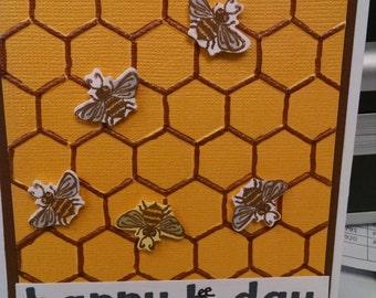 Happy Birthday Bee-day Greeting Card