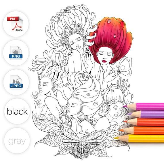 Adult Coloring Page Alice in Wonderland Garden Flowers Line Art