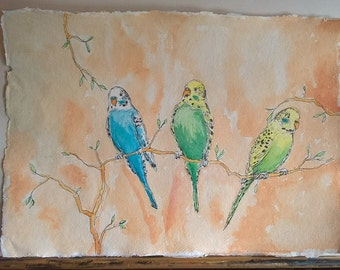 BUDGIES A3 painting