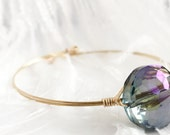 Bangle Bracelet With Glass Crystal Wire Wrapped Multi Color Gold Arrow Studios