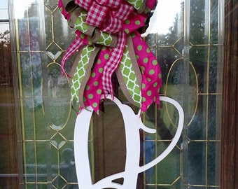 Front Door Decor, Monogram Door Hanger, Initial Door Hanger