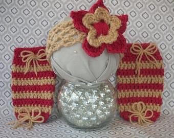 Crocheted Headband & Leg Warmer Set NEWBORN - 3 MONTHS