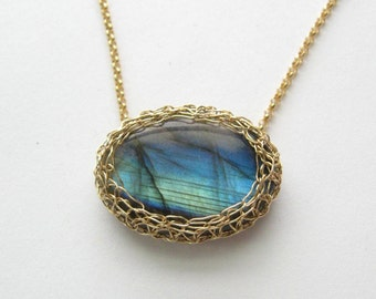 Labradorite Spectrolite Gold Mesh Necklace Precious Meshes