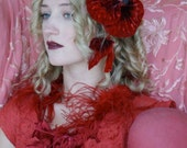 Huge 1920's Red Velvet Flower with stem and leaves Textiles Flowers