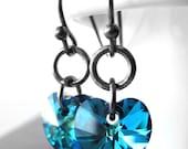 SALE - Aqua Blue Heart Earrings, Small Bermuda Blue Crystal Heart Earrings, Gunmetal Black, Valentines Day Gift Wife, Girlfriend, Teen Girl