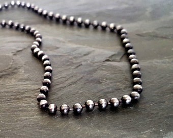 Oxidized Silver Chain Necklace Sterling Silver Black Bead Chain, Rock Chic Jewelry, Edgy Jewelry, Oxidized Sterling Silver Bead Necklace