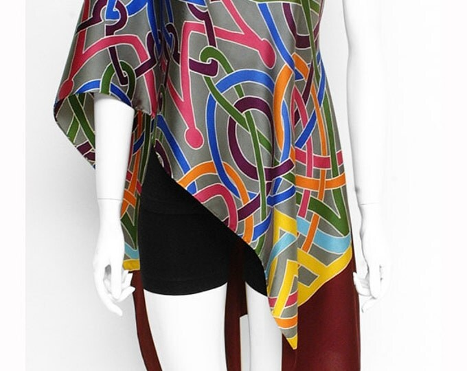 Handpainted silk scarf, Celtic scarf, Mandala scarf, Colorful scarf, Hand made scarf, Tribal scarf, Womens silk scarf, Wearable art scarf