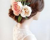 bridal headpiece, floral headpiece, bridal hair comb, wedding headpiece, large flower crown, floral hair piece, wedding hair piece, ivory