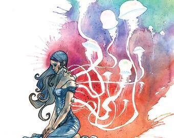 "Jellyfish Art Print, Science Fiction Illustration, Tech Gift - Singular, If by Sea 11x14"" Watercolor Art Print by Cody Vrosh"