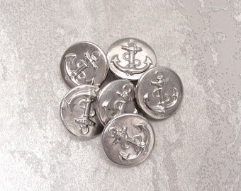 Silver Anchor Buttons 19mm - 3/4 inch Bright Silver Tone Metal Nautical Ship Anchor Buttons - 6 Vintage NOS Boat Anchor Shank Buttons MT70