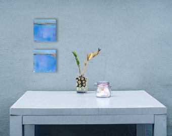Abstract Landscape Paintings, Minimalist Paintings, 2 Small 6x6 Paintings, Diptych, Coastal Decor, Wall Decor, Small Art, Mini Paintings