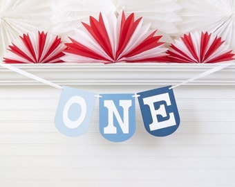 Ombre Blue ONE Banner - 7.25 inches tall - First Birthday Banner One Highchair Banner One Birthday Banner Boys 1st Birthday Decoration Sign