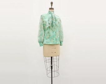70s Secretary Blouse Vintage Floral Blouse Sage Green Ascot Blouse Tie Neck Blouse 1970s Floral Blouse High Collar Blouse, m, l