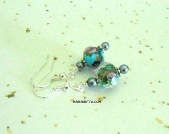 Shabby Blue Green Grey Lampwork Glass Rose on Bright Silver Dangle Earrings