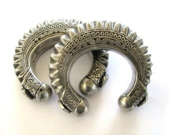 Antique Swat Valley, Pakistan, Afghanistan, High Grade Silver, Pair, Hollow Cuff Bracelets, Slightly Oval, Ethnic Tribal,  156.2Grams,