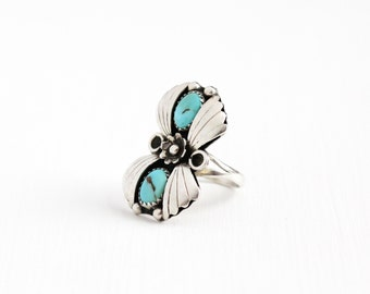 Sale - Vintage Sterling Silver Turquoise Ring - Size 7 1/4 Retro 1960s Southwestern Native American Style Leaf Flower Floral Jewelry