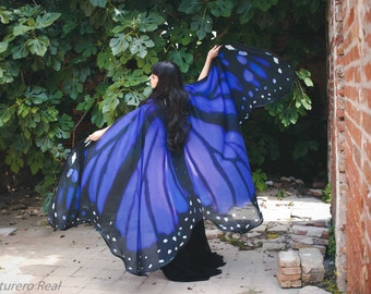 Butterfly blue wings cape Monarch cloak scarf costume adult fairy chiffon belly dance