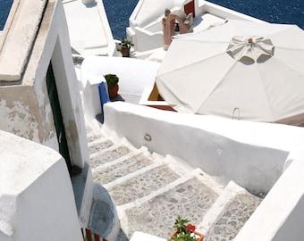 Santorini Greece Wall Art - Greek Architecture Photography - Greek Island Print - Mediterranean Wall Art - Navy Blue and White Home Decor