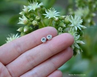 Swirl Stud Post Earrings, 5 mm, Handmade in Sterling Silver, Oxidized