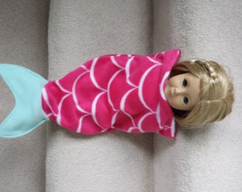 """Mermaid Tail Blanket, Mermaid Doll Blanket, Fleece, Hot Pink and White Scales, Sized to Fit 15"""" or 18"""" Dolls"""
