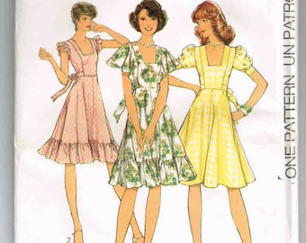 "Uncut, Vintage Style Pattern #1155, Size 10, Bust 83cm (32.5"") Young Shape Design, 1975 Miss Dress, Summer Dress, Cape, Frilled Sleeves"