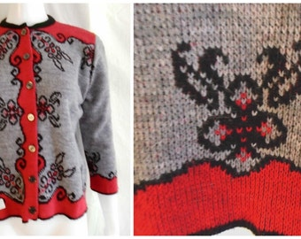 Vintage 1960's Sweater Deadstock Cardigan Graphic Woven Design Grey Red and Black Large