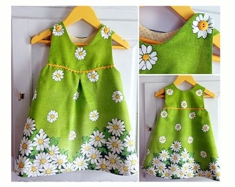 Dress Overall Girl Baby Girl sewing pattern Pdf, MINI TULIPS Jumper Pinafore dress newborn 3m 6m 9m 18m 1 2 3 4 5 6 years Instant Download
