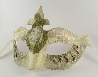 Masquerade Mask Women Venetian Domino Bachelorette Party Original Design Cream Beige Mauve