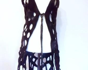 Felted Long Lace Cobweb Vest