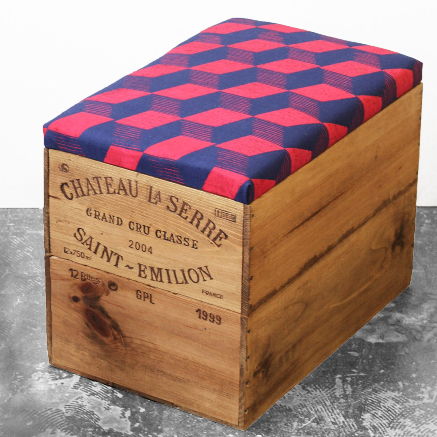 Upcycled wooden wine crate ottoman storage seat table with