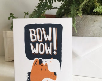 Amazed dog greeting card