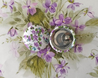 Fabric Covered Button Earrings / Bridesmaid Gifts / WHOLESALE Available / Purple Floral Print / Gifts for Her / Wedding Jewelry