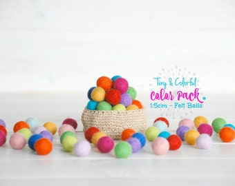 1.5CM - 25 or 50 Tiny Wool Felt Balls - Colorful Felt Balls - 1.5CM Wool Felt Balls - (15mm) - Wool Felt Pom Poms - 1.5CM Single Color Pack
