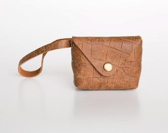 Crocodile Leather Coin Purse, Envelop Wallet, Leather Wallet, Leather Wristlet Wallet , Small Leather Purse, Leather Coin purse, Mens Wallet