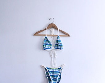 Striped Knit Bikini Bathing Suit
