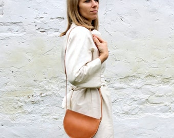 Brown crossbody bag, Leather half circle bag, brown small crossbody purse, gift under 50, ON SALE