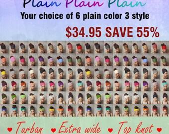 Six PLAIN Headband Three style /Turbun/Extra wide/Top knot Only 34.95 USD.